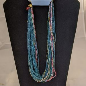 Cascade Blue Seed Bead Twist Necklace